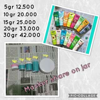 Masker, Scrub, Facial wash Share on jar