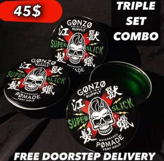Free Delivery To Workplace/Doorstep Home 🏠 [Gonzo Super Slick Pomade Waterbased Stronghold]