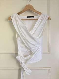 Zara white wrap tie up crop top