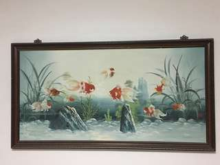 Oil Painting of 9 Goldfish