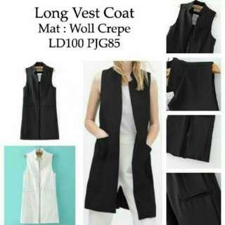 (Long vest coat RO) vest wanita woll crep hitam dan putih