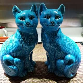 Vintage blue glazed cats circa 1900