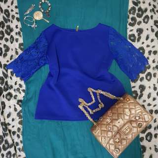 Blouse with Crochet sleeves (color royal blue) no brand