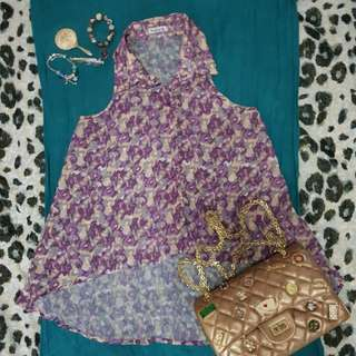 NAVA printed sleeveless (color lilac/purple, pantone of 2018)