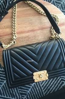 Authentic Chanel chevron boy bag {old medium}
