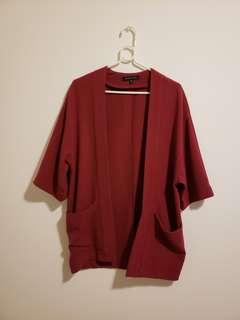 Dynamite wine red cardigan