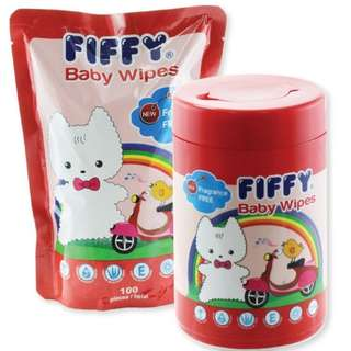 Fiffy baby wipes 100pcs x2 (Bottle and Refill pack)