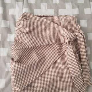 Tan Wrapped Mini Skirt