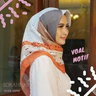 Jilbab segiempat voal motif 100ribu 3pcs
