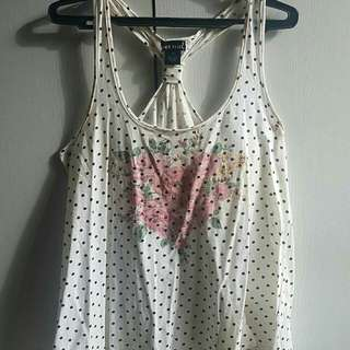 Wet seal polkadot sleeveless top with flowers