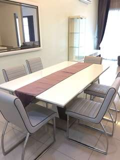 Hard stone dining table for 6