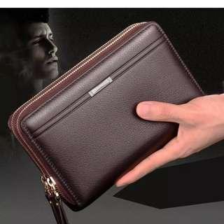 Allwin Men Clutch Bag Long Purse Leather Wallet Lichee Handbag Double Zippers Bag