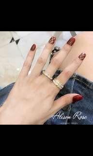 🚚 歐美韓國鍍18k玫瑰金雙排彩金滿鑽時尚閃鑽戒指女指環鈦鋼不褪色
