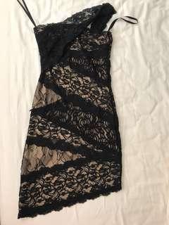 Bebe Toga asymmetrical lace evening dress