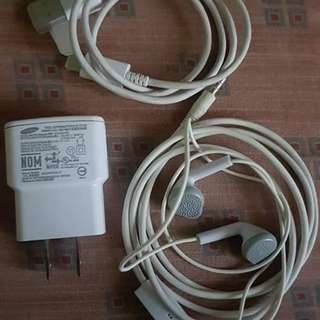 Samsung charger and earphone
