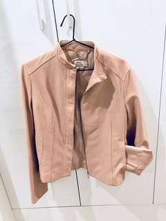MNG pale pink leather jacket