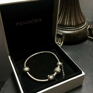 Authentic Pandora with Charm and Safety Chain
