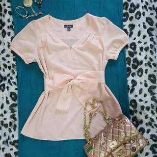 For Me chiffon short-sleeved blouse (color peach)
