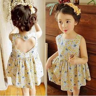 Baby Girl Heart Casual Korean Floral Dress