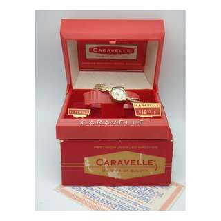 1967年 Bulova ~ Caravelle by Bulova 17j Gold Tone Manual Wind Lady's Watch w/Box