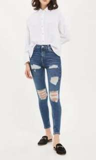 Topshop ripped Jamie jeans. Size 8. Like brand new