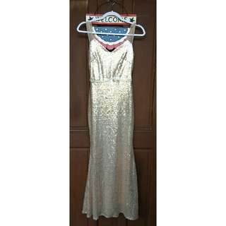 Gold Long Gown Sequined
