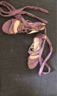 Purple lace up sandals