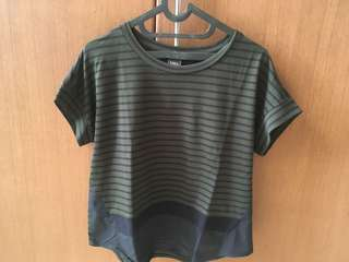 Iora stripe green-black top