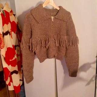 Vintage Cropped Fringe Sweater