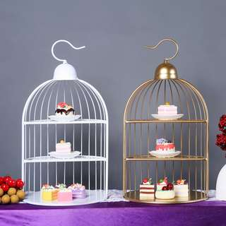 Blossom 28 Magnificence Wedding & Engagement Cake Decoration Cage CG016 ( White & Gold )