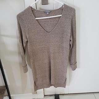 Beige Knit Long Dress Top Size Small