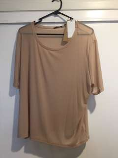 Cotton on nude mesh Tshirt