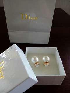 Dior inspired pearl ball earrings