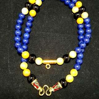Handmade Blue Sandstone Amulet Necklace - Suitable for 2 Amulets