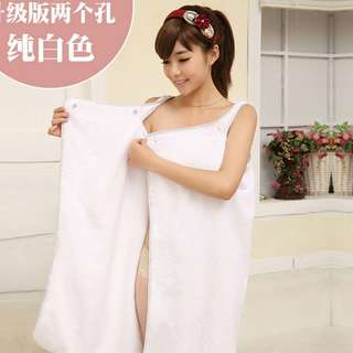 Towel Dress With Hair Wrap (White)