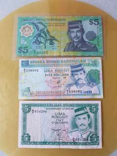 Brunei $5 notes 1983,1989,2002 each