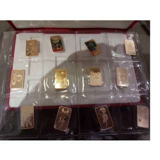 12 Chinese Zodiac Gold Plaques 十二生肖金牌 (Credit Suisse - 5g X 12)
