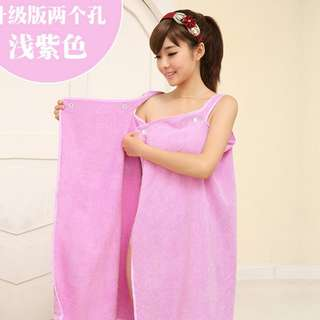 Towel Dress with Hair Wrap (Purple)