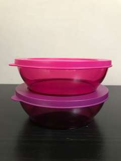 Tupperware Bowl / Round Clear Containers (Set Of 2)