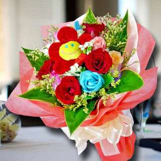 [FREE DELIVERY] 12 Mixed Roses with Fabric Flower Hand-bouquet (044-MR)