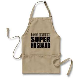 Amusing, modern and a funny gift for the super husband Board Certified Super Husband Apron Color: Khaki