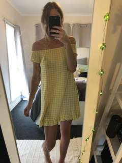 Off the shoulder checkered dress