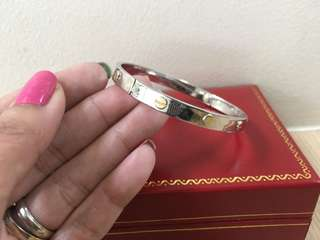Cartier Inspired Two Tone Bangle WG