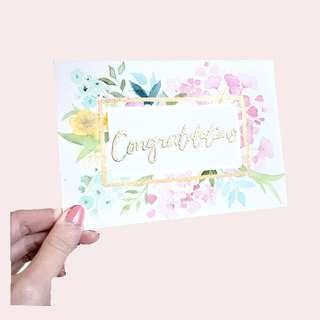 Floral frame greeting card A6 | Embossed ; Pearlescent | Congratulations; thank you; birthday; wedding; invites