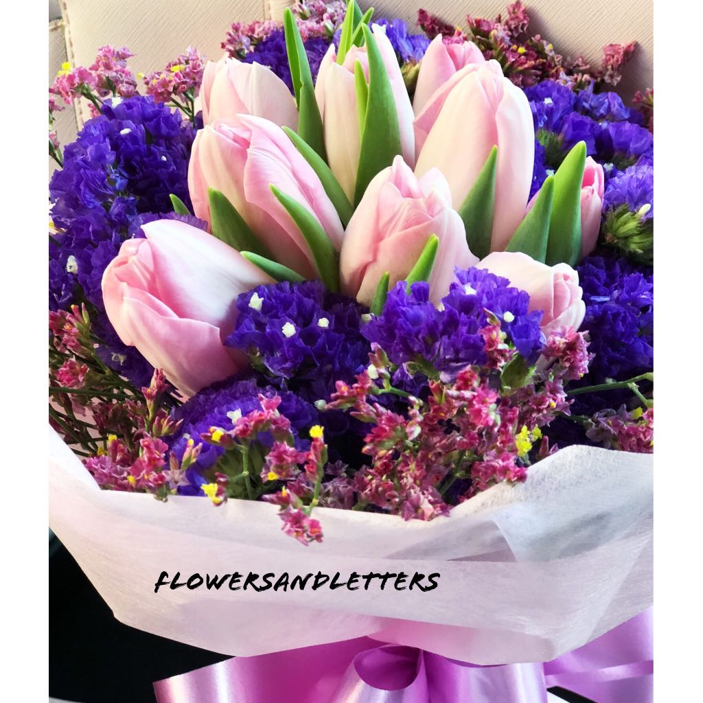 10 stalks Pink tulips with flower fillers hand bouquet fresh flowers ...