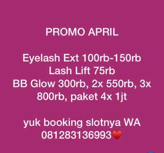 PROMO EYELASH EXT, LASH LIFT, BB GLOW