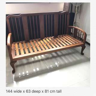 (includes delivery) Marquetry Teakwood  3 seater Sofa