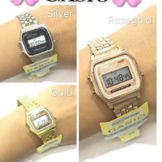 Casio vintage rosegold rose gold silver Couple watches watch