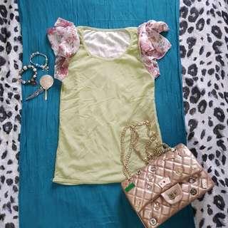 Sheer ruffled blouse (color light green & peach, buy 1 take 1) no brand