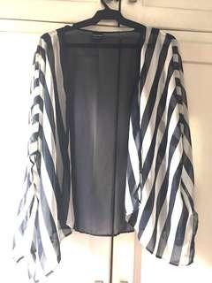 Blue and White Striped Kimono